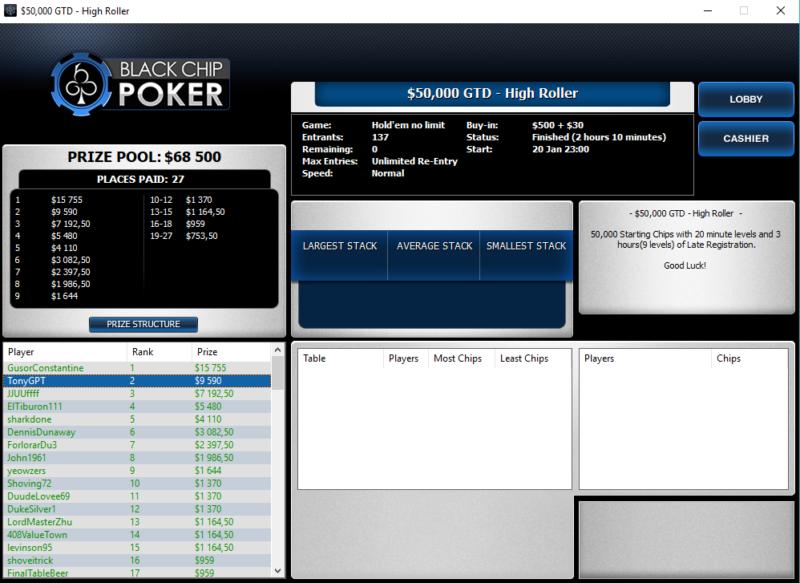 50K GTD Black Chip Poker - Poker Online