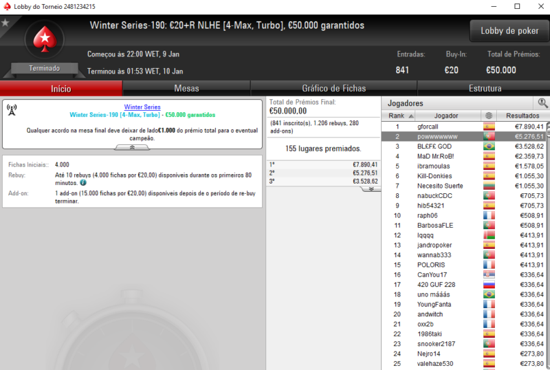 Winter Series 190 - PokerStars
