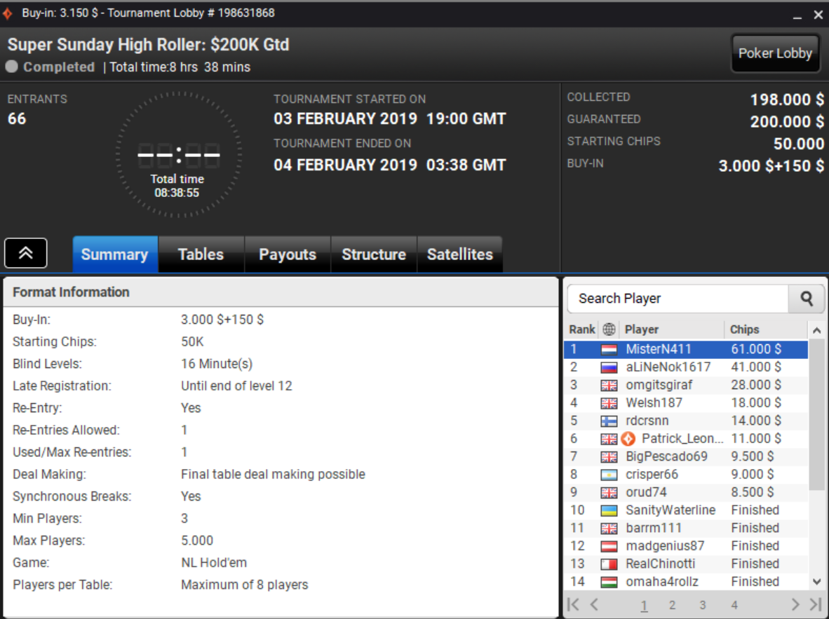 Super Sunday High Roller
