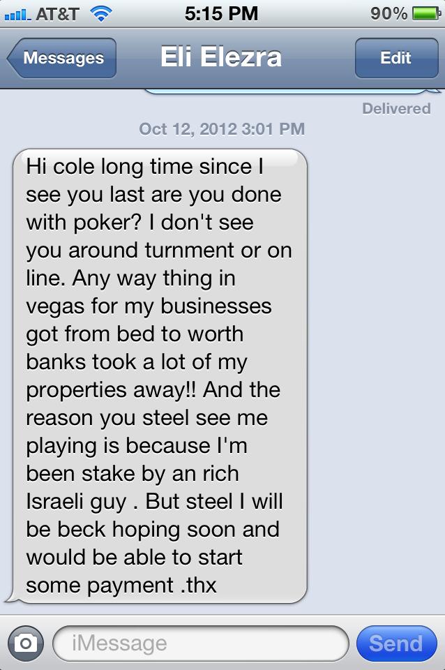 mensagem sms de Eli Elezra