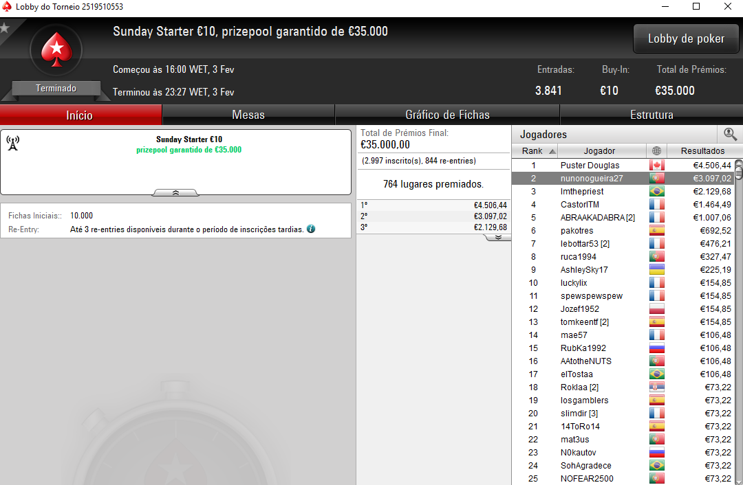 Sunday Starter - PokerStars