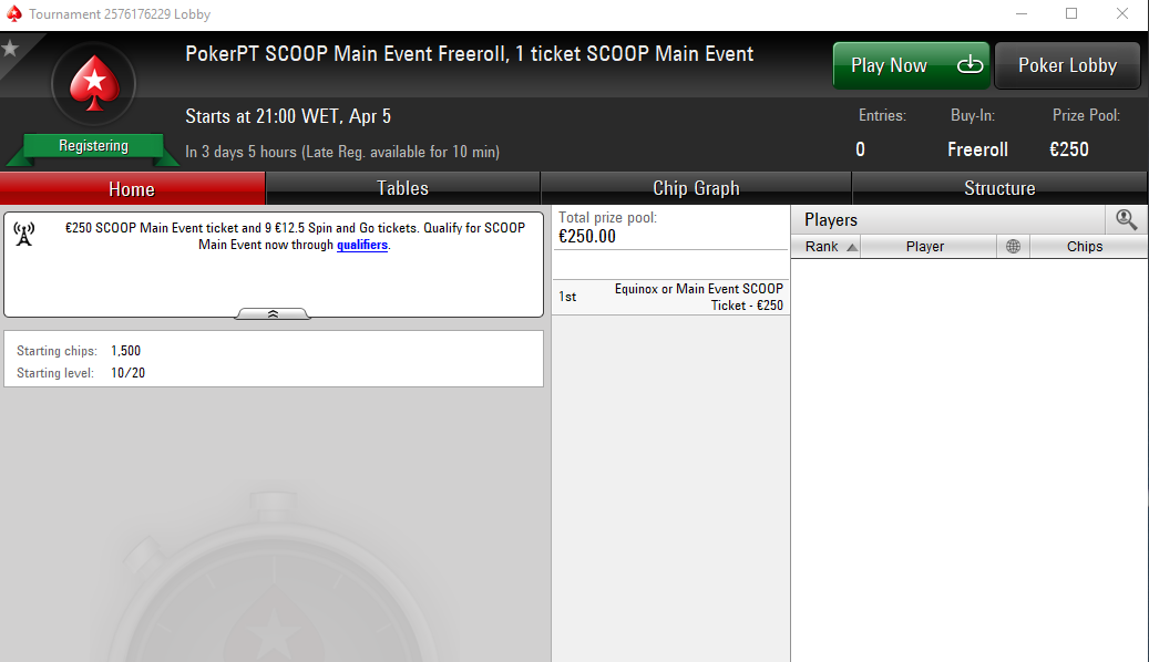 PokerPT SCOOP Main Event Freeroll