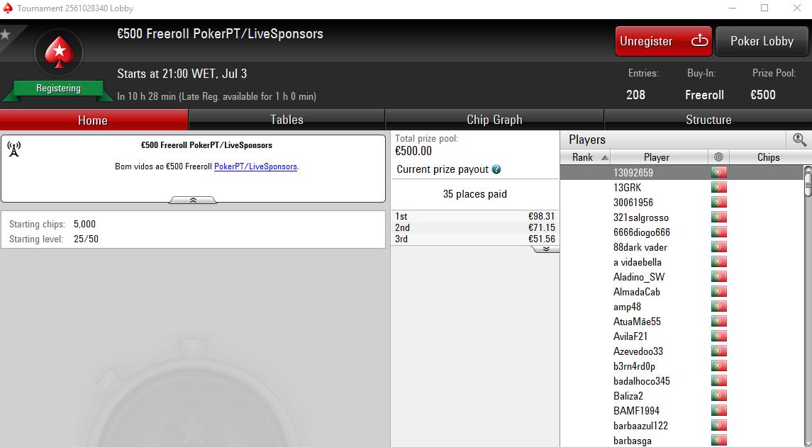 €500 Freeroll PokerPT
