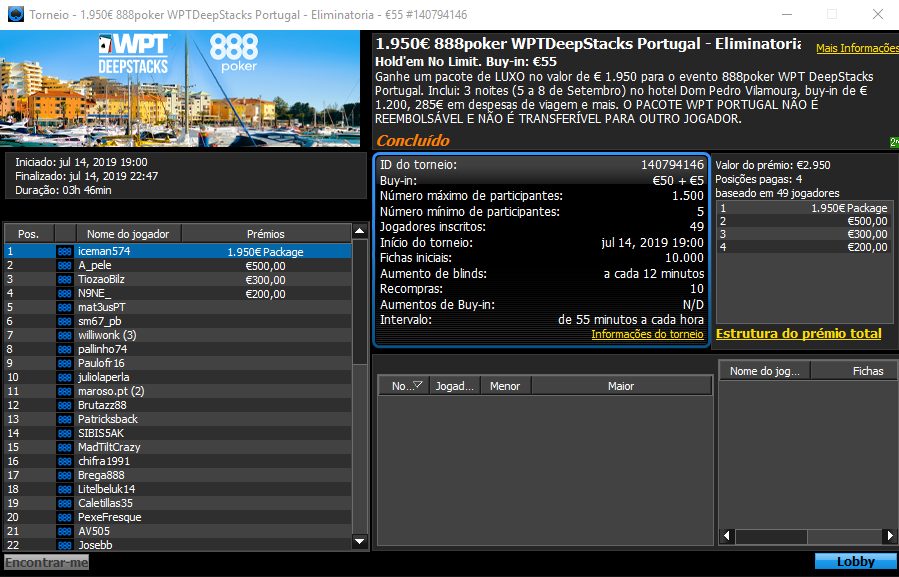 WPTDeepStacks Vilamoura satélite 888poker.pt