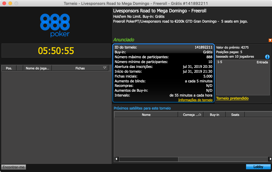 lobby freeroll exclusivo