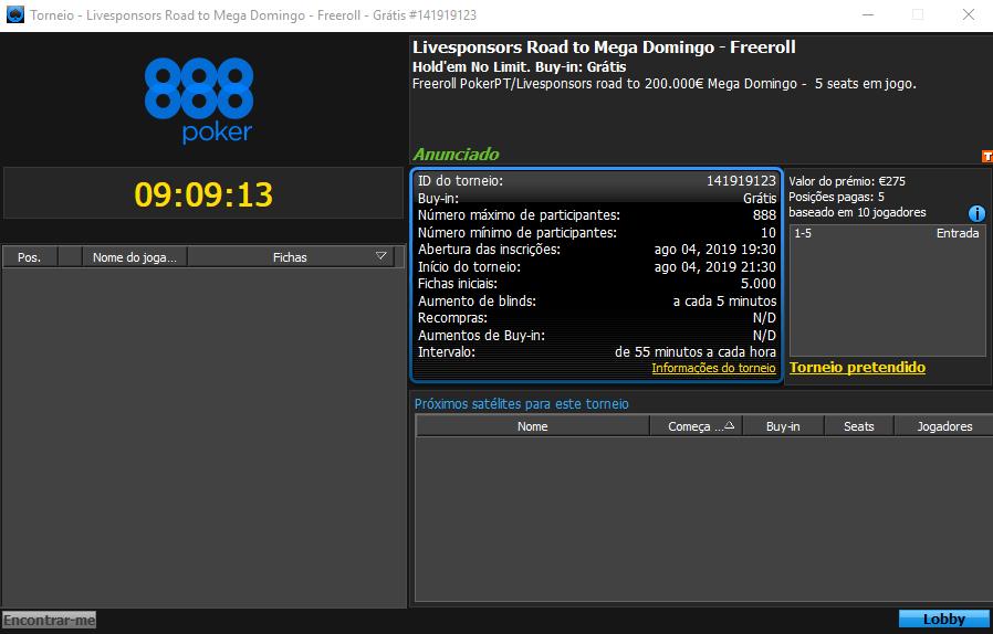 Frreeroll Exclusivo PokerPT Livesponsors
