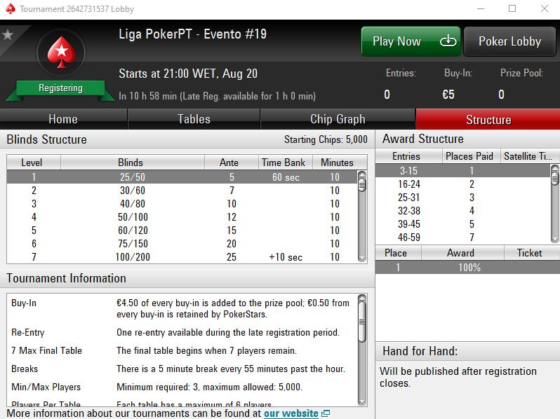 Liga PokerPT #19 Lobby