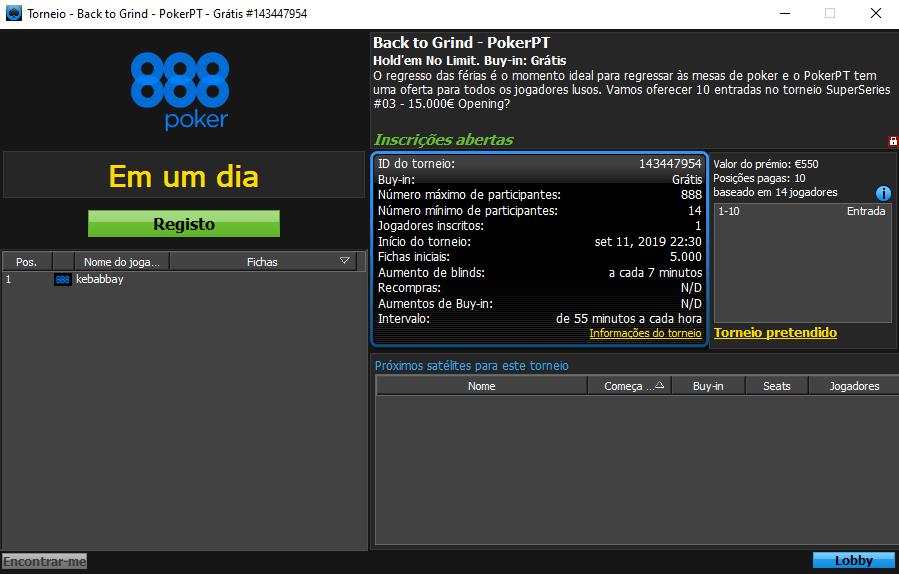 Back to Grind - PokerPT torneio #1