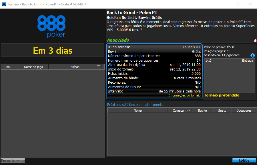 Back to Grind - PokerPT torneio #2