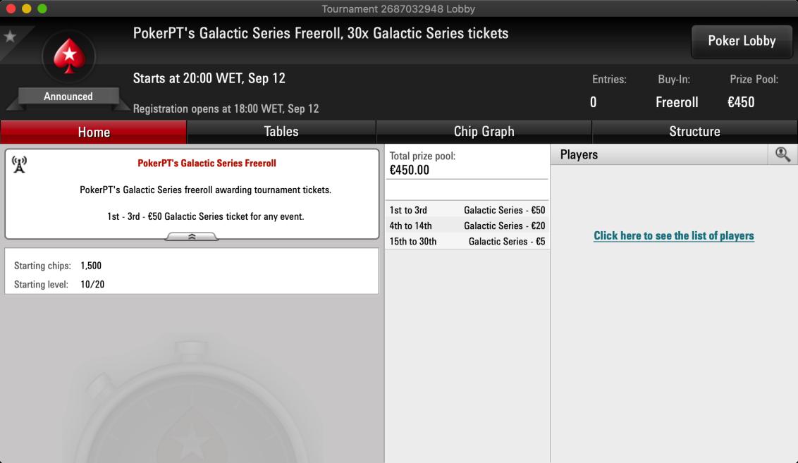 Freeroll PokerPT Galactic Series