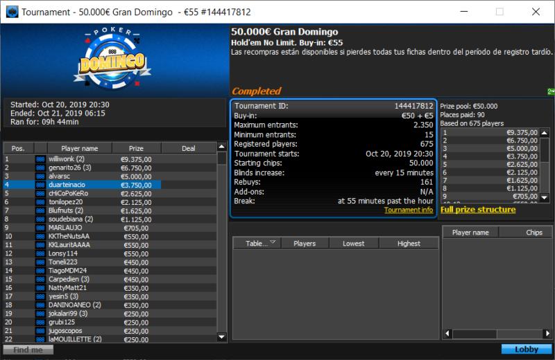 888poker Gran Domingo - duarteinacio e soudebiana