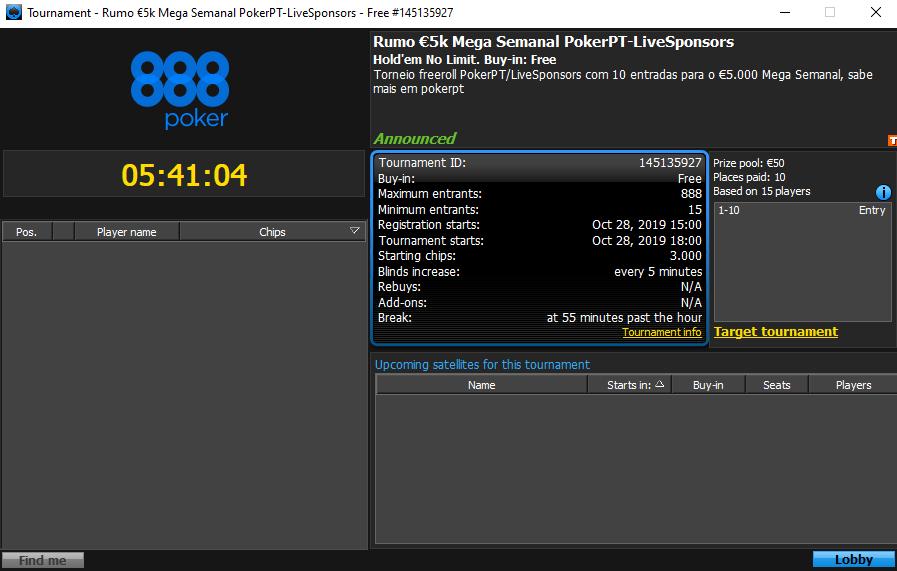 Rumo €5k Mega Semanal PokerPT/LiveSponsors
