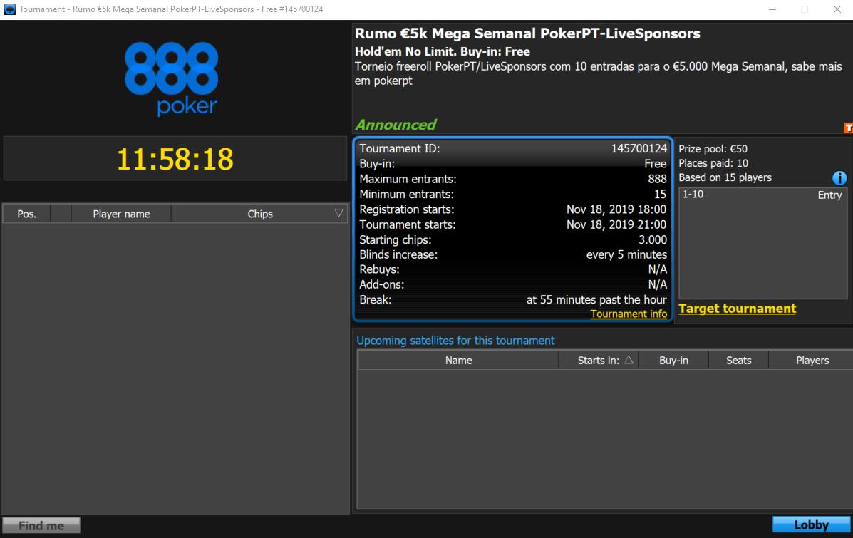 Freeroll Rumo 5K Mega Semanal PokerPT-Live Sponsors