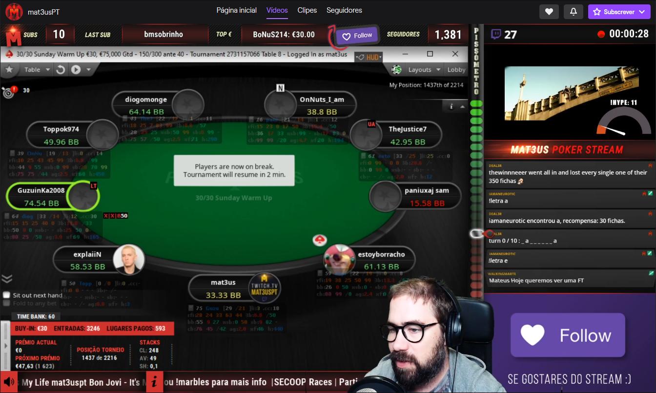 Ricardo Mateus - Streamer de poker do Twitch