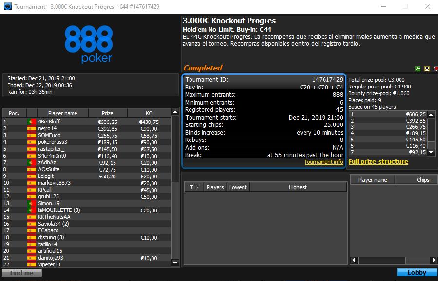 €3k Knockout Progressive 888poker