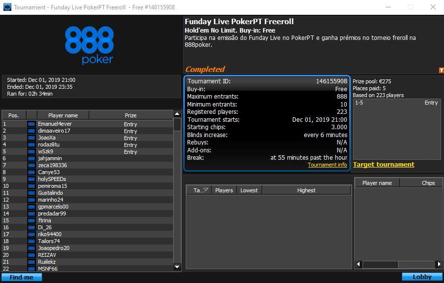 Funday Live PokerPT Feeroll