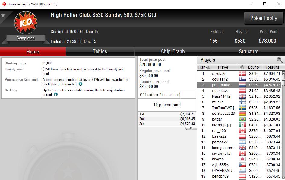 High Roller Club Sunday 500