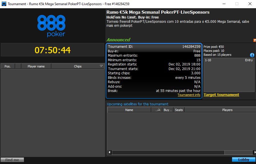 Rumo €5.000 Mega Semanal PokerPT-LiveSponsors