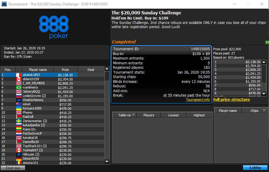 $20K Sunday Challenge