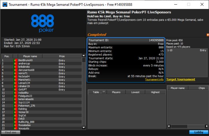Freeroll Rumo €5k Mega Semanal PokerPT/LiveSponsors 888poker