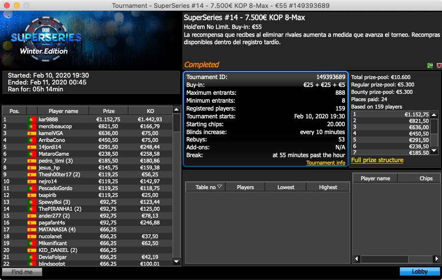 Evento #14 888poker SuperSeries Winter Edition