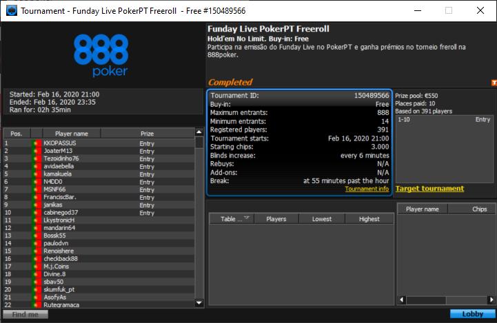 Dez vencedores Funday Live PokerPT Freeroll