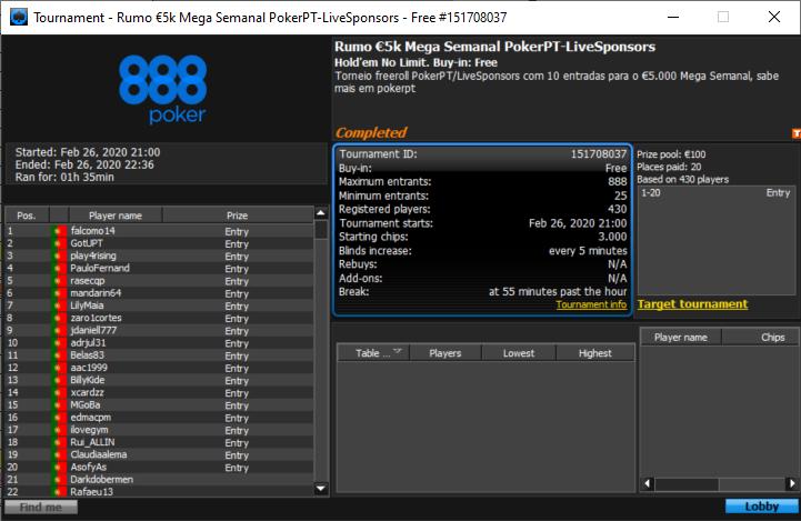 40 vencedores Freeroll PokerPT