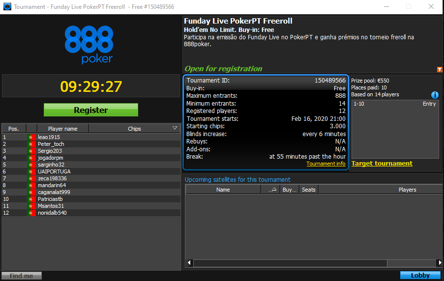 Freeroll Funday Live