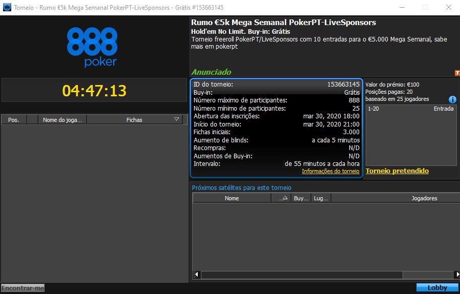 Rumo €5K Mega Semanal da 888poker