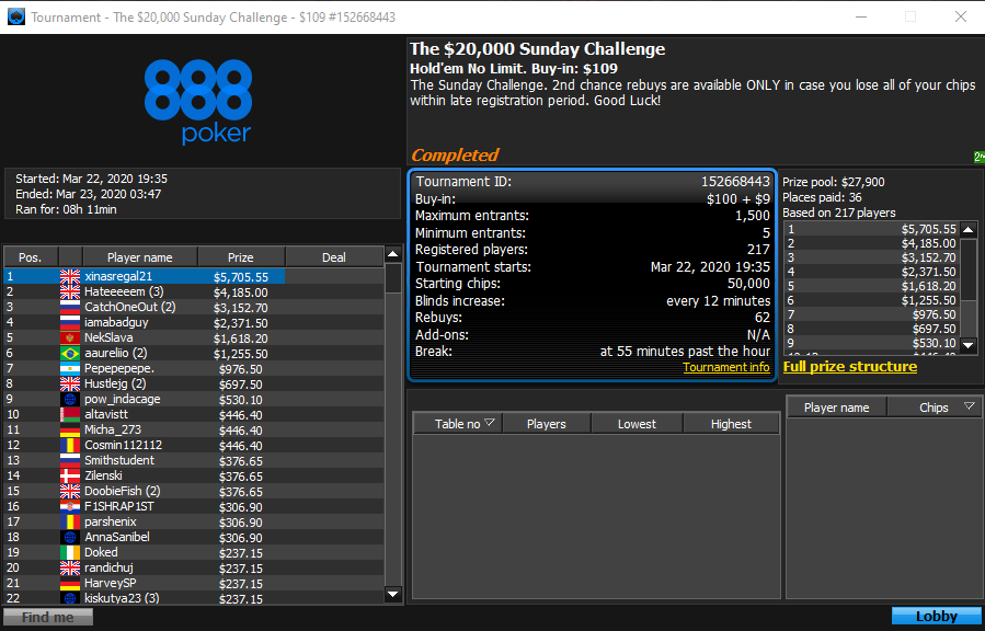 The $20000 Sunday Challenge