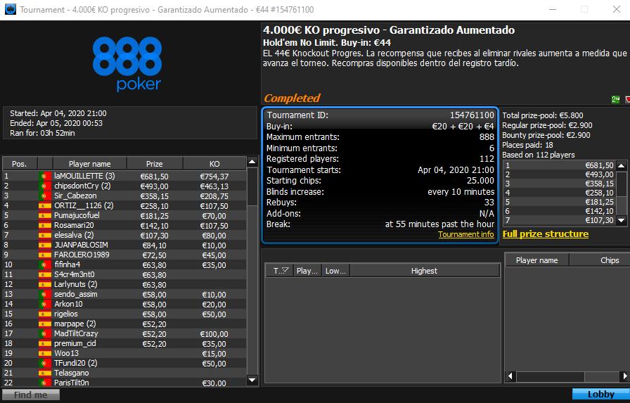 4000 KO Progressivo - 888poker