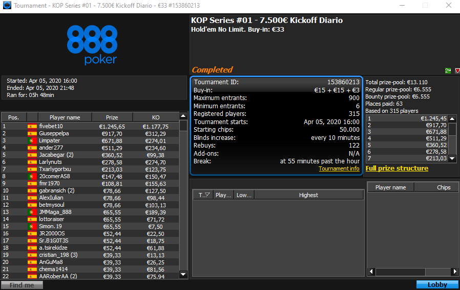 KOP Series #1 - 888poker
