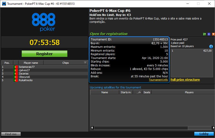 PokerPT 6-Max Cup #6