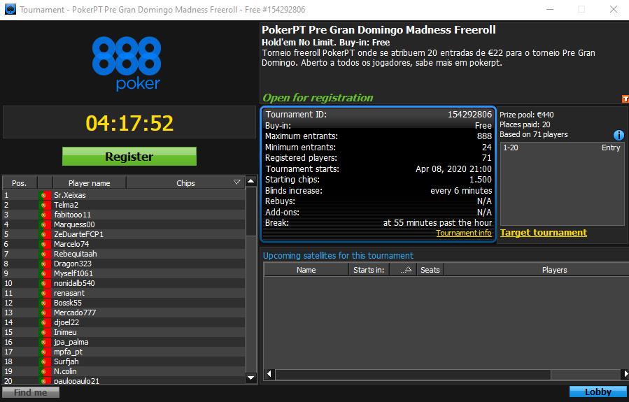 PokerPT Pre Gran Domingo Madness Freeroll