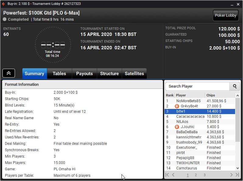 Powerfest $100K Gtd [PLO 6-Max]