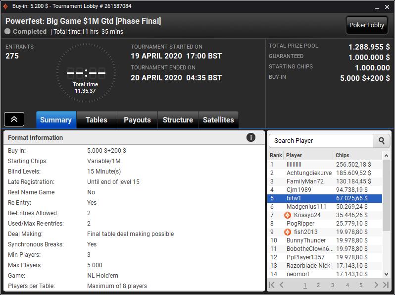 Powerfest Big Game $1M Gtd
