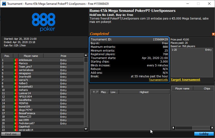 Resultados Rumo €5K Mega Semanal PokerPT