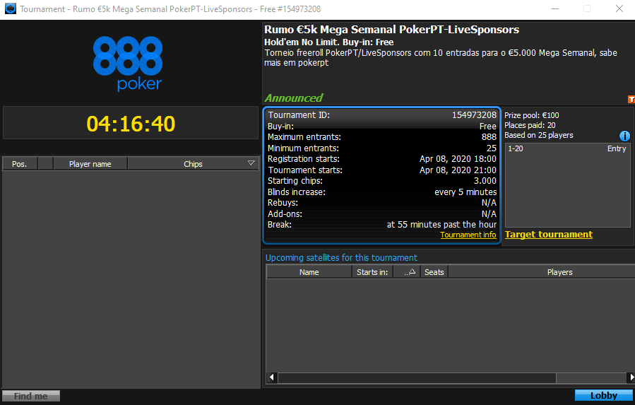 Rumo $5K Mega Semanal PokerPT-LiveSponsors