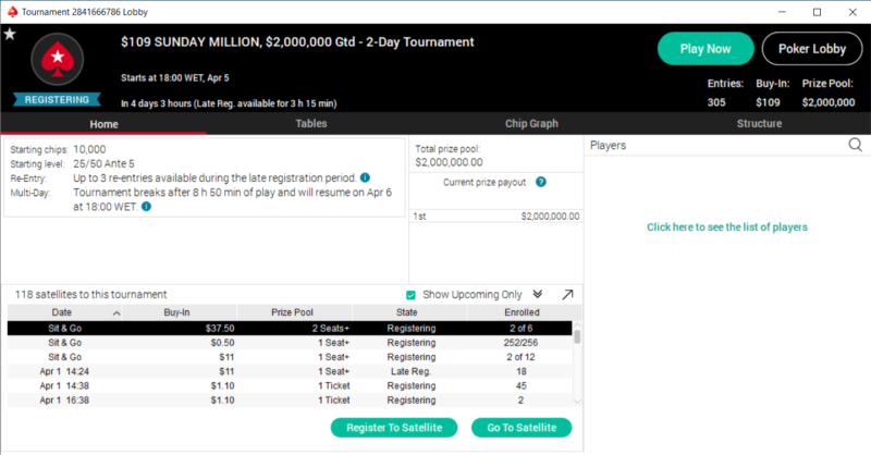 $2M GTD Sunday Million