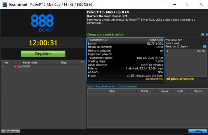 14ª Etapa PokerPT 6Max