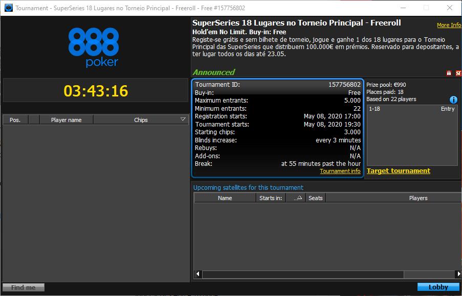 SuperSeries Freeroll - 888poker