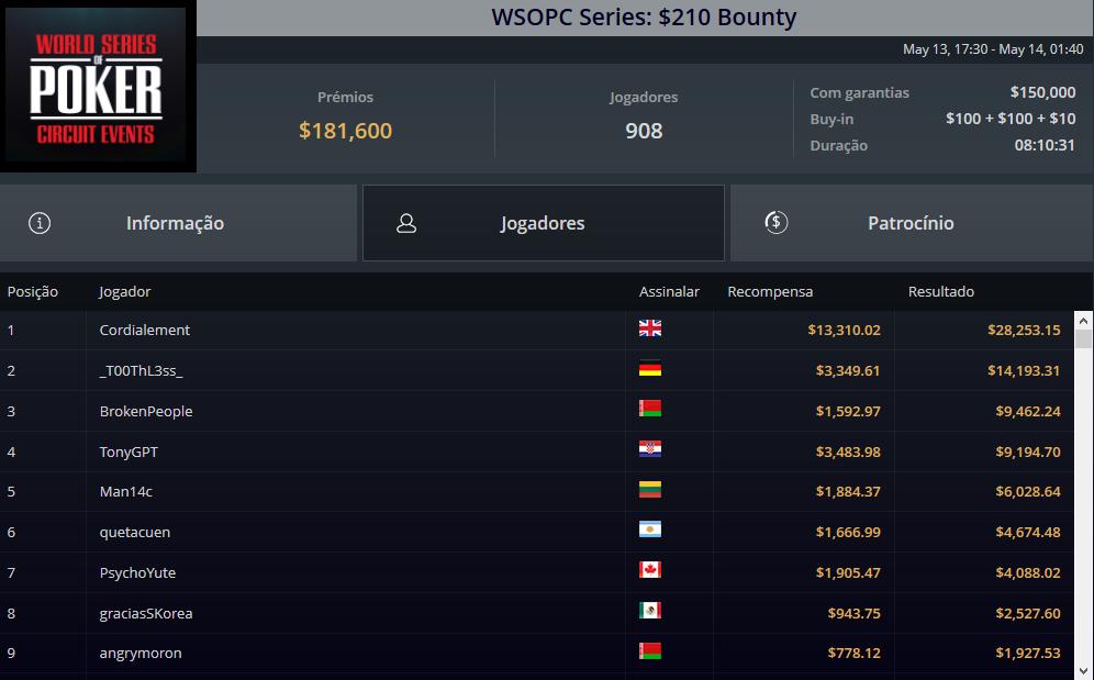 WSOPC Series $210 Bounty