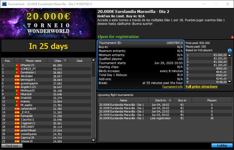 €20.000 Eurolandia Maravilha - Torneio Wonderworld