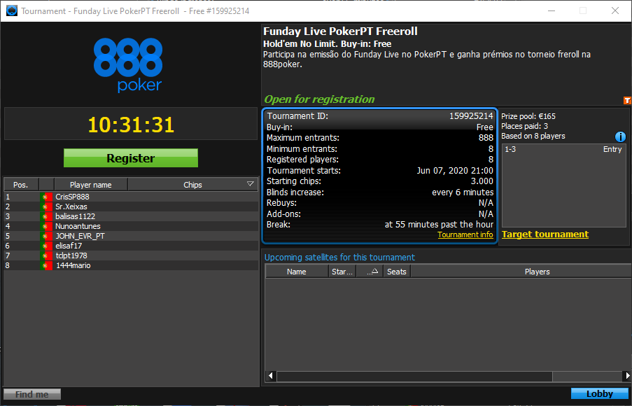 Funday Live PokerPT Freeroll