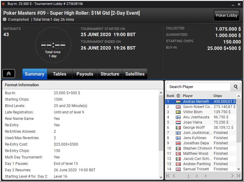 Poker Masters #09 - Super High Roller