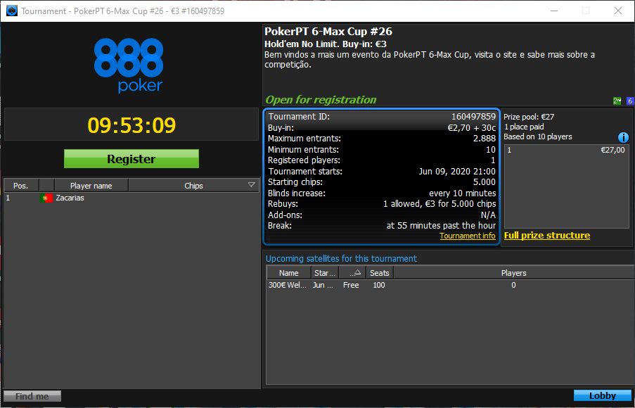 PokerPT 6-Max Cup #26