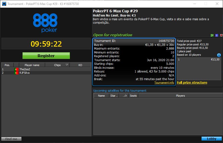 etapa #29 da PokerPT 6-Max Cup