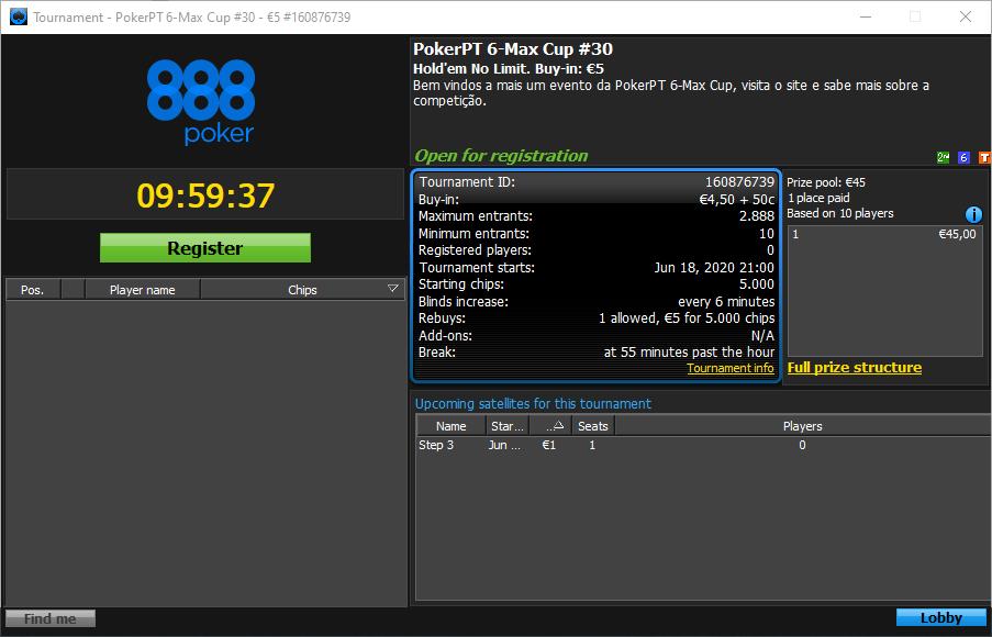 Etapa #30 da PokerPT 6-Max Cup