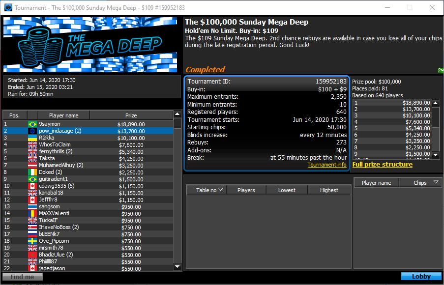 The $100000 Sunday Mega Deep