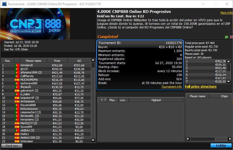 €4000 CNP888 Online KO Progressivo